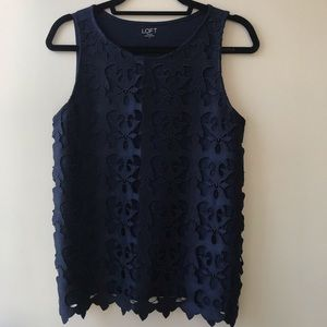 Loft Outlet Navy Lace Sleeveless Top Small